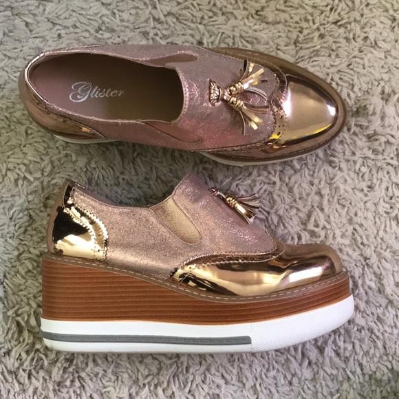 Shoes | Gold Platform Wedge Oxfords W